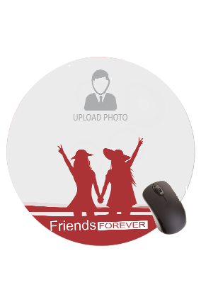 Printed Friends Forever Round Mouse Pad