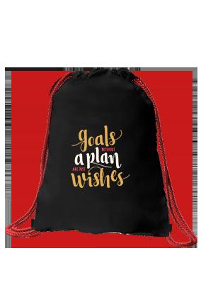 Goals with Plans Black Sack Bag