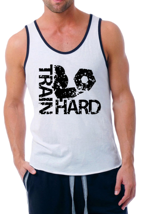 Train Hard Poly Cotton Sleeveless Gym and Sportswear Tank Tops Sports Tshirt or Vests for Men