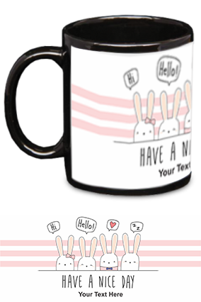 Have A Nice day Personalized Kids Designer Black Patch Mug
