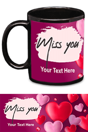Miss You Black Patch Mug