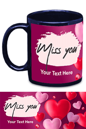 Miss You Blue Patch Mug