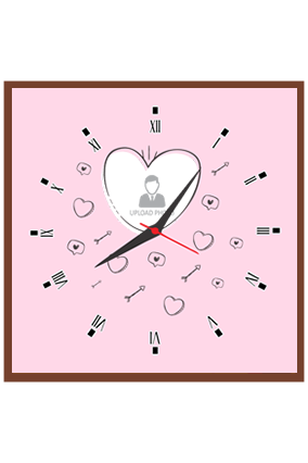 Pink Love Personalized Square Valentine Clock