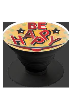 Be Happy Designer Mobile Grip Pop Holder-Black