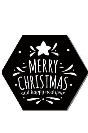Striking Black Merry Christmas and New Year Hexa Coaster