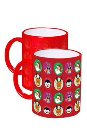 Animated Faces Xmas Red Magic Mug