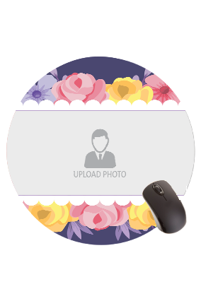 Colorful Flowers Round Mouse Pad