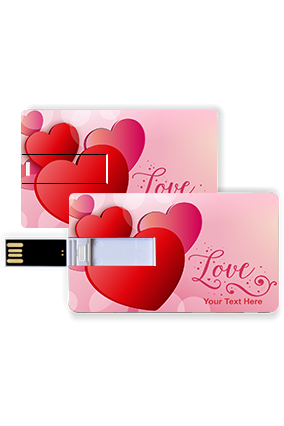 Glassy Hearts with Love  Valentine Credit Card Pen Drive