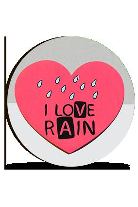 I Love Rain Valentine Round Photo Magnet