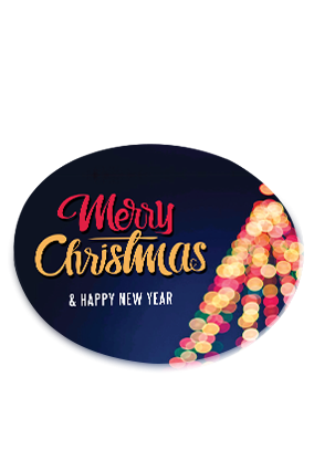 Colorful String Lights Merry Christmas and New Year Round Coaster