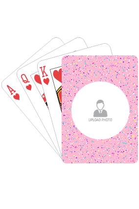 Colorful Dots on Pink Playing Cards