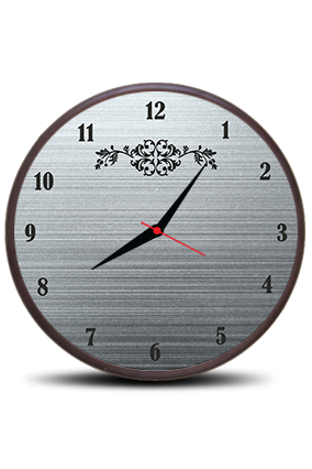 Blackish Grey Round Clock With Frame
