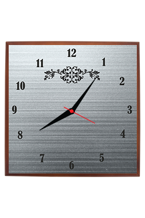 Blackish Grey Square Clock With Frame