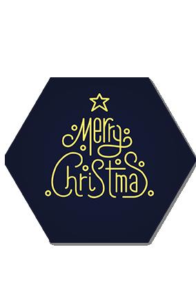 Amazing Navy Blue Merry Christmas Hexa Coaster