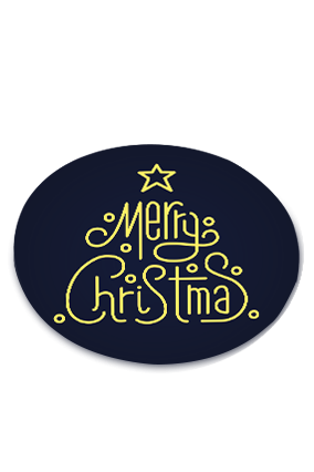 Amazing Navy Blue Merry Christmas Round Coaster