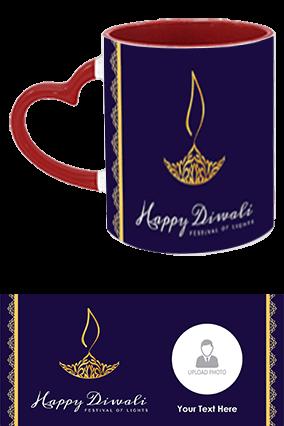 Blue Color Diwali Heart Handle Inside Maroon Mug