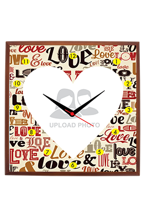 Love Dose Square Wooden Wall Clock