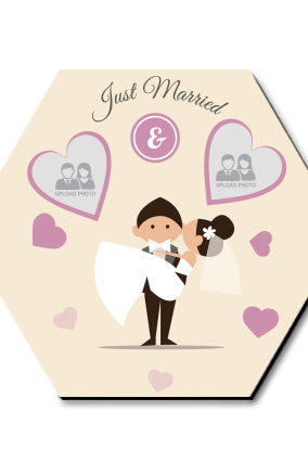 Just Married Hexa Coaster