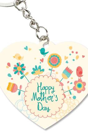 Colorful Mother's Day Heart Key Chain