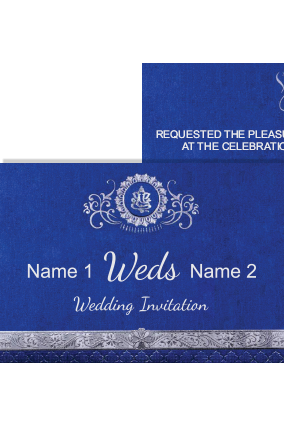 Blue Color Wedding Invitation Card