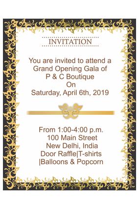 Black and Golden Border Portrait Invitation Card
