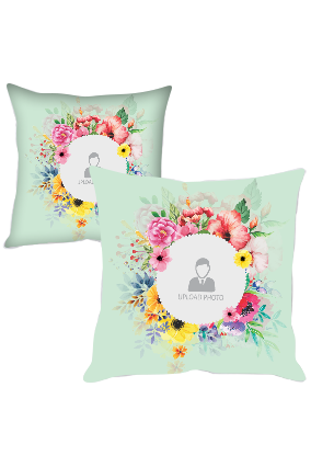 Beautiful Flowers with Photo Polyester Cushion Cover