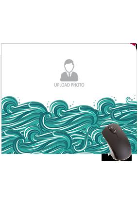 Printed Sea Waves Rectangular Mouse Pad