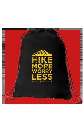 Hike More Worry Less Printed Black Sack Bag