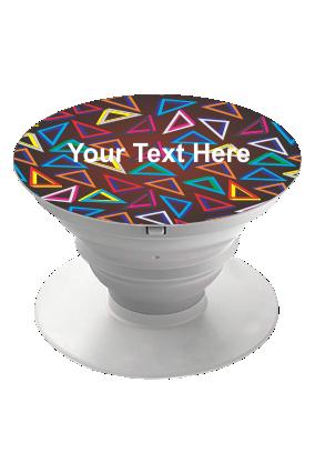 Colorful Triangles Designer Mobile Grip Pop Holder-White