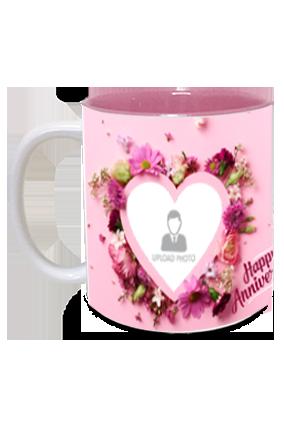 Beautiful Hearts Personalized Anniversary Inside Pink Mug