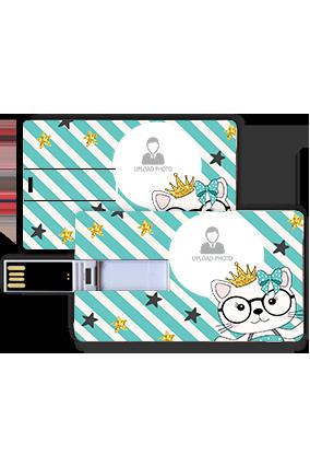 Diagonal Strips Personalized Credit Card Pen Drive
