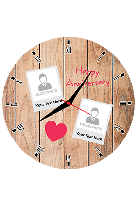 Wooden Texture Personalized Round Wall Clock