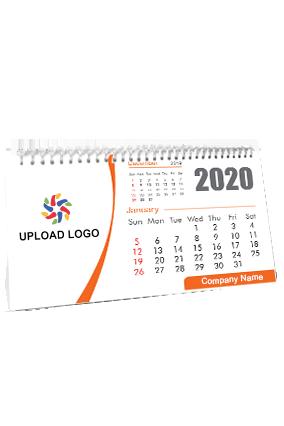 Business Orange Theme Desk Photo Calendar(11 x 6 Inches) - 12 Leaves