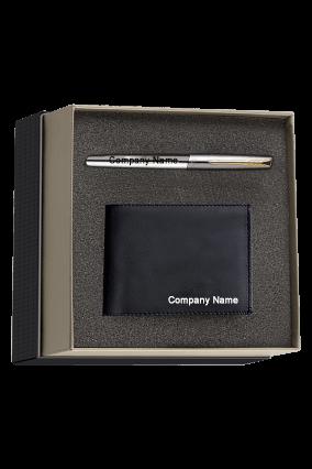 Parker Frontier Matte Black Chrome Trim Roller Ball Pen Gift Set - Blue Ink, with Card Holder