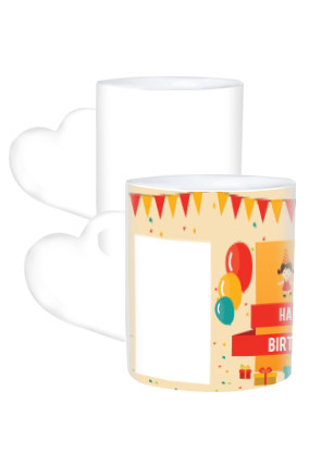 Colorful Birthday Heart Handle White Coffee Mug