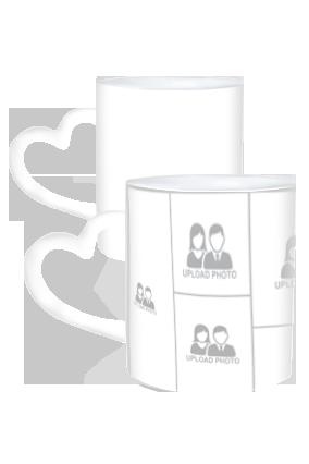 Customized 11 Photos Heart Handle White Coffee Mug