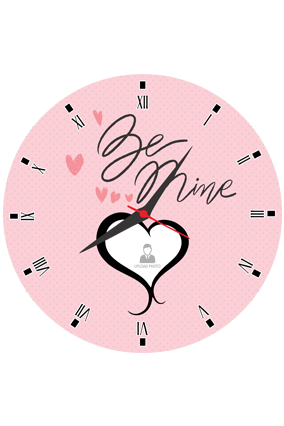 Be Mine Personalized Round Valentine Clock