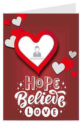 Hope Believe Love Valentine Greeting Card
