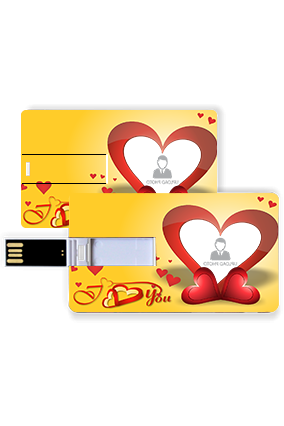 Flying Red Hearts Valentine Credit Card Pen Drive