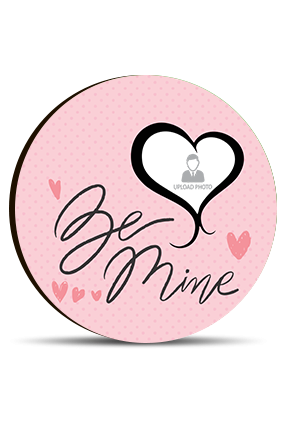 Be Mine Personalized Valentine Round Photo Magnet