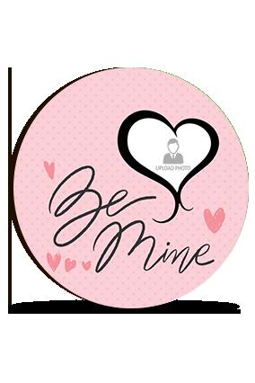 Be Mine Personalized Valentine Round Photo Magnet