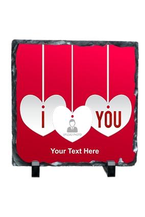 Hanging Hearts Personalized Valentine Square Photo Rock