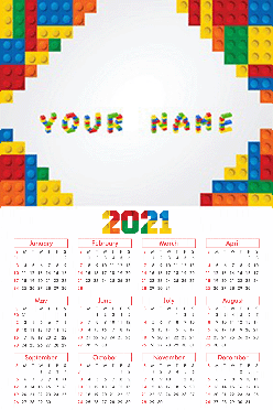 Kid's Blocks Poster Name In Image Table Calendar (12x18 Inches)