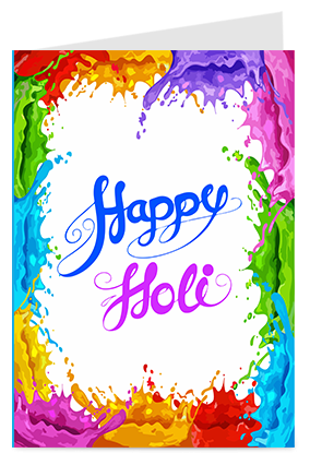 Colorful Spills Designer Holi Greeting Card