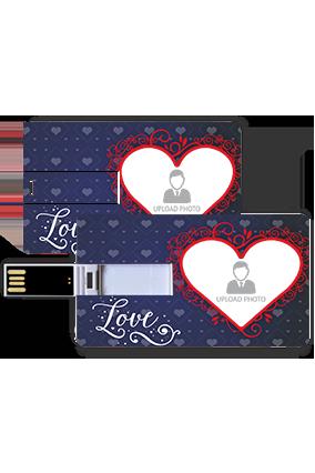 Designer Heart Valentine Credit Card Pen Drive