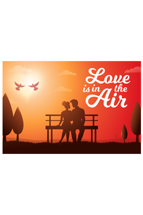 Love Is In Air Valentine Landscape Poster