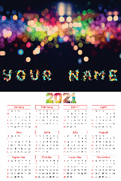 Color Drops Poster Name In Image Calendar (12x18 Inches)