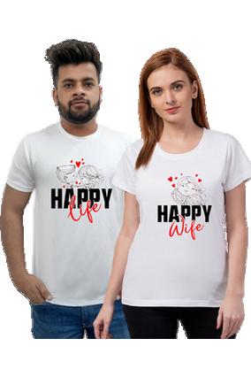 Matching Pair of Happy life Half Sleeve Couple T-Shirt