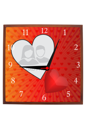 Love Radiance Square Wooden Wall Clock
