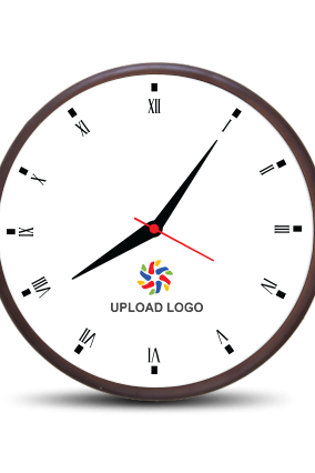 Business Upload Logo Wooden Wall Clock